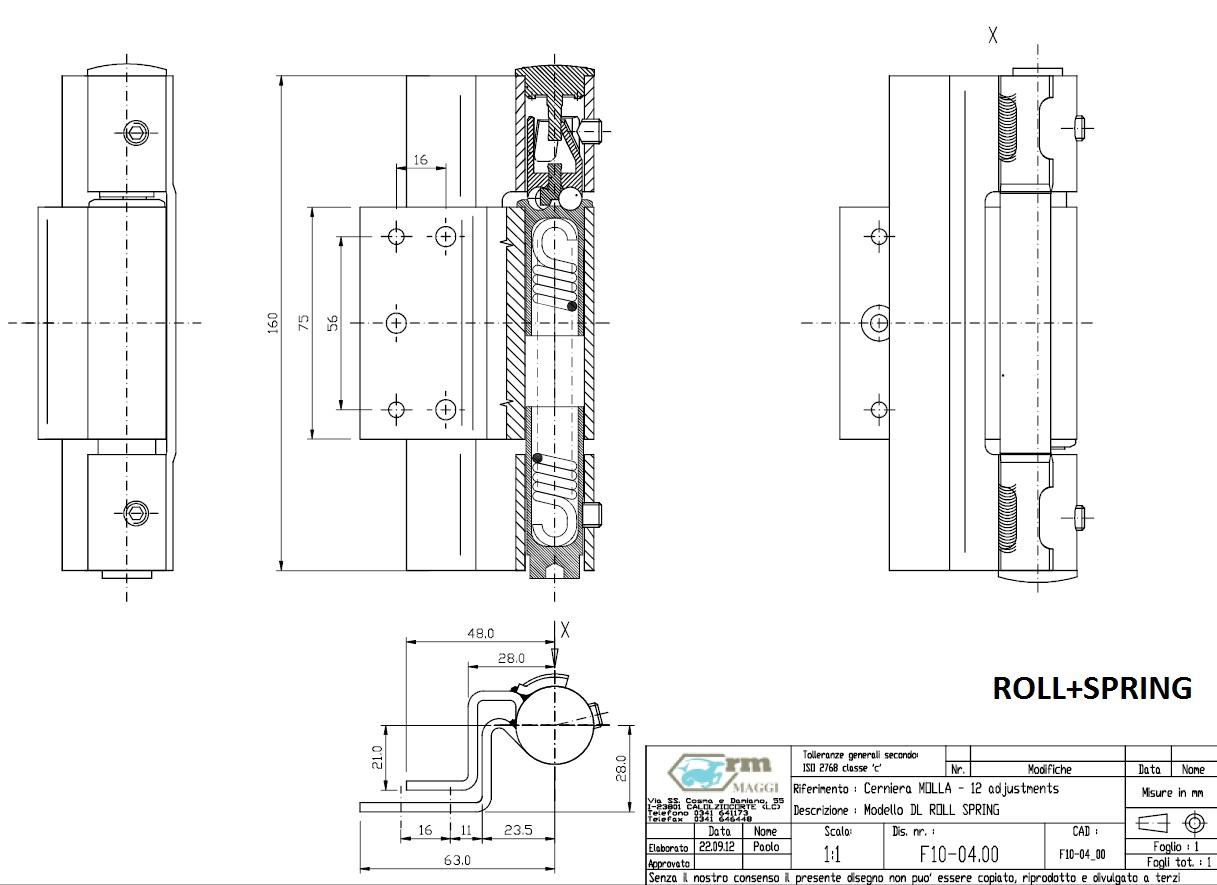 Петли дверные MAGGI, серия ROLL, петля подпружиненная